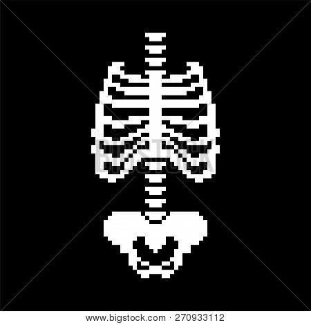 Rib Cage And Spinal, Pelvic Bone Pixel Art. Bones Anatomy 8 Bit. Pixelate Human Skeleton System 16bi