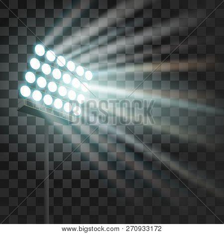 Stadium Glowing Light. Stadium Projector Lights To Illumnate Evening Or Night Sport Games, Concerts,