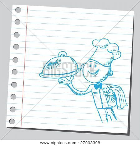 Sketch of a happy chef