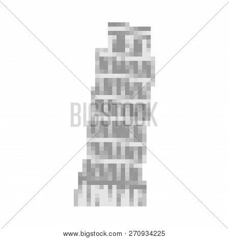 Leaning Tower Of Pisa Pixel Art. Italy Landmark 8 Bit. Europe Showplace Pixelate 16bit. Old Game Com