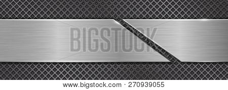 Brushed Metal Texture. Steel Plate On Perforated Background. Vector 3d Illustration