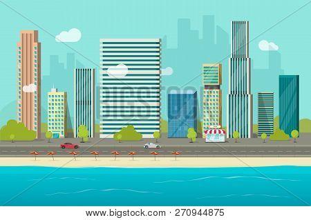 City Buildings From Sea Beach View Vector Illustration, Flat Cartoon High City Skyscraper Buildings