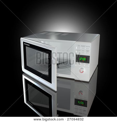 Open white microwave on black background. 3d