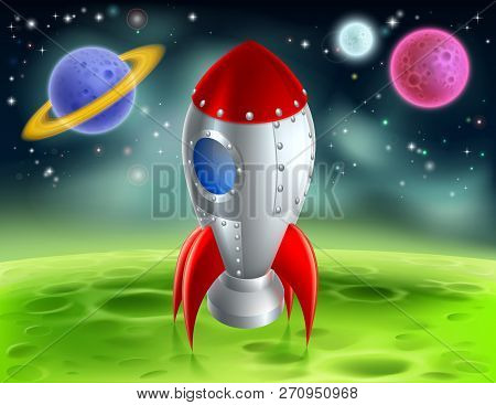 An Illustration Of A Cartoon Retro Space Rocket Ship Or Space Ship Landed On A Moon Or Planet With A