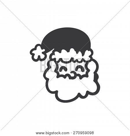 Smiling Santa Claus Vector Icon On White Background. Smiling Santa Claus Icon In Modern Design Style