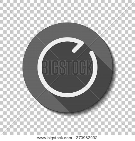 Simple arrows, update, reload, clockwise direction. Navigation icon. Simple arrow, backward. Navigation icon. Linear symbol with thin line. One line style. White flat icon with long shadow in circle on transparent background. Badge or sticker style poster