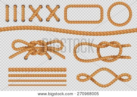 Rope Elements. Marine Cord Borders, Nautical Ropes With Knot, Old Sailing Loop. Vector Isolated Set