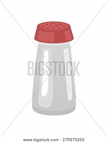 Saltshaker Salt In Container With Holes On Top. Glass Bottle With Flavor, For Food Dishes. Cooking I