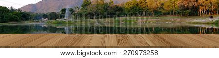 Forest Mountain Lake Nature Landscape With Wood Table For Display Product