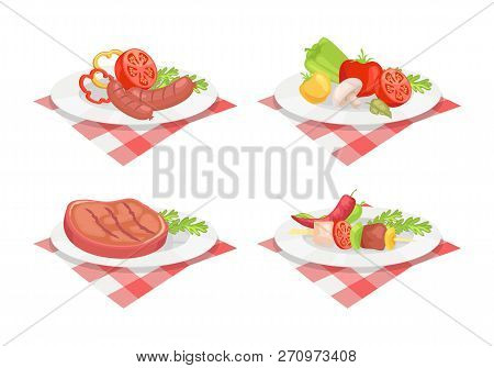 Beefsteak And Roasted Fried Sausage Served On Plate Isolated Icons Vector. Vegetables Dish Serving M