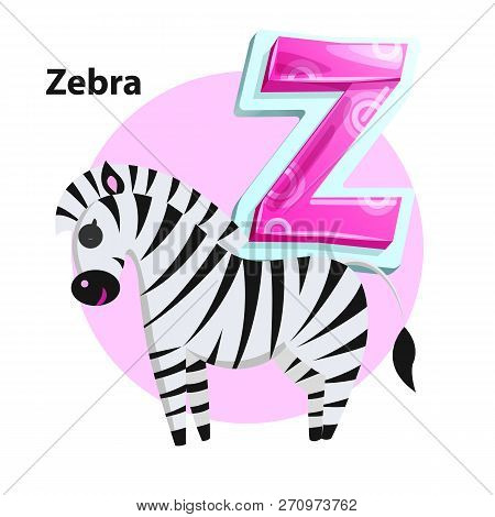 Letter Z For Zebra Cartoon Alphabet For Children. Volume Symbol With Pattern, Striped Wild Horse Wit