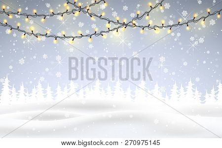 Winter Is Coming. Christmas, Snowy Night Woodland Landscape With Falling Snow, Firs, Light Garland,