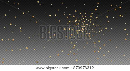 Sparse Gold Confetti Luxury Sparkling Confetti. Scattered Small Gold Particles On Transparent Backgr
