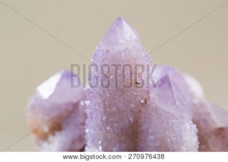 Pretty Sparkle Amethyst Spirit Quartz Cluster From South Africa, Isolated On White Background