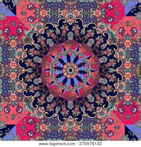 Luxury Silk Scarf With Flower Mandala On Ornamental Background. Bright Vector Illustration.