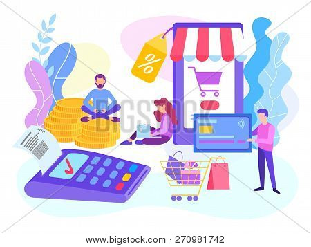 Card Payment Pos Terminal. Online Shopping Concept, Paying By Card Using A Mobile Phone. Vector Illu