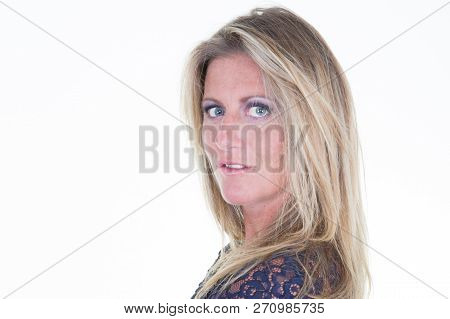 Beautiful Blonde Middle Aged 40 Businesswoman Portrait