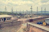 High voltage transformer modern substation electrical switchyard. poster