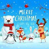 Merry Christmas and Happy New Year! Christmas Cute Animals Character. Happy Christmas Companions. Polar Bear, Fox, Penguin, Bunny and Red Cardinal Bird in snow scene. Winter landscape. poster