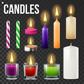 Candles Set Vector. Different Types Of Paraffin, Wax Burning Candles. Classic, Glass Jar, For Cake. Party Candle Light Icon. Transparent Background. Isolated Realistic Illustration poster