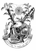 Swords and nails are inserted into the skull in the deserted land. Engraving illustration vintage style for tattoo art. poster