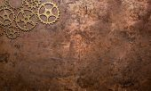gears background copper brass nostalgic rustic clockwork tooth poster