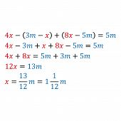 Algebraic parametric equation with one variable. Positive and negative numbers are simple fractions and mixed fractions poster