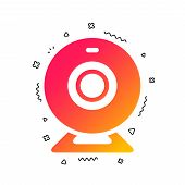 Webcam sign icon. Web video chat symbol. Camera chat. Colorful geometric shapes. Gradient video icon design.  Vector poster