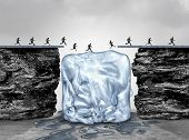 Limited time opportunity and urgent act fast business concept as a bridge made of ice melting away as an emergency deadline or expiration symbol with 3D illustration elements. poster