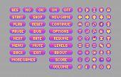 Pixel art bright buttons. Vector assets for web or game design. Decorative GUI elements. Bubble gum color theme. poster