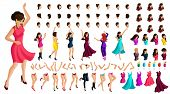 Isometry constructor dancing character, with a set of emotions, hairstyles, gestures of hands and feet. Create your own dancing and energetic girl beautiful dress. poster