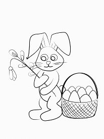 Easter Coloring. Black And White Raster Illustration For Coloring Book.easter Bunny With A Willow An