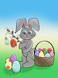 Easter Cute Illustration. Funny Rabbit With A Wreath On His Head, Flowers In His Paws And A Basket W