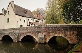 Old Stone Bridge Over The Eure River In The Charming Medieval Town Of Chartres, France. Also Picture