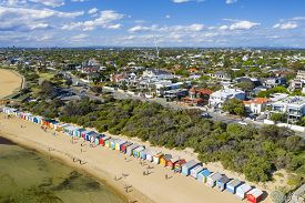 Melbourne, Australia - Nov 16, 2018: Aerial View Of Tourists Visiting The Brighton Bathing Boxes And