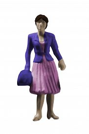 Miniature Figurine Woman Isolated By Clipping Path On White Background