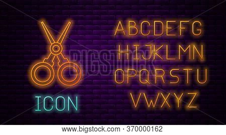 Glowing Neon Line Scissors Hairdresser Icon Isolated On Brick Wall Background. Hairdresser, Fashion
