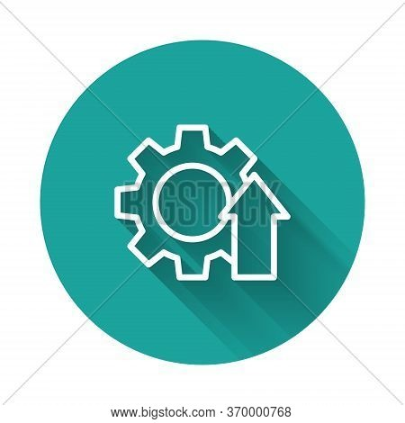 White Line Arrow Growth Gear Business Icon Isolated With Long Shadow. Productivity Icon. Green Circl