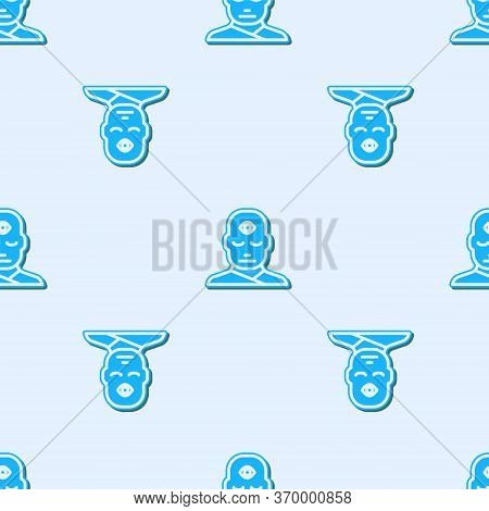 Blue Line Man With Third Eye Icon Isolated Seamless Pattern On Grey Background. The Concept Of Medit