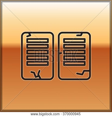 Black Line The Commandments Icon Isolated On Gold Background. Gods Law Concept. Vector Illustration