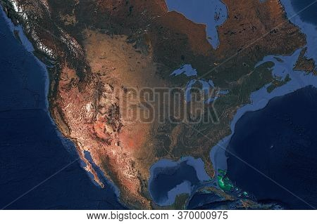 The North American Continent, The View From The Top A Satellite Image. America, Mexico, And Canada.