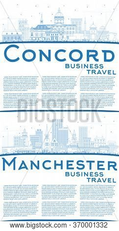 Outline Manchester and Concord New Hampshire City Skylines Set with Blue Buildings and Copy Space. Business Travel and Tourism Concept with Historic and Modern Architecture.
