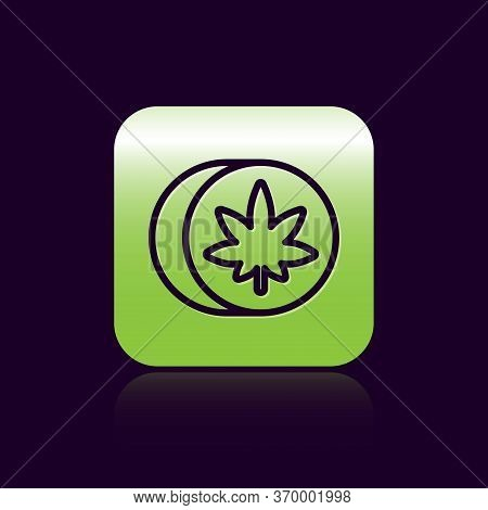 Black Line Herbal Ecstasy Tablets Icon Isolated On Black Background. Green Square Button. Vector Ill