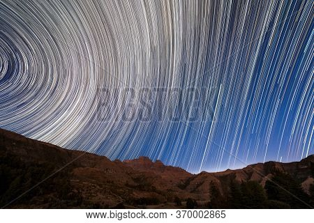 A Magical Circular Star Trail Night Sky Photograph