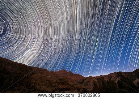 A Magical Circular Star Trail Night Sky Photograph