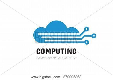 Cloud Hosting Icon Design. Computing Technology Sign. Server Network Connection Logo Symbol. Vector