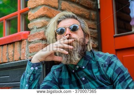 Close Up Portrait Of Smoking Man. Sensual Bearded Hipster With Cigarette. Cigarette Smoke. Bearded M