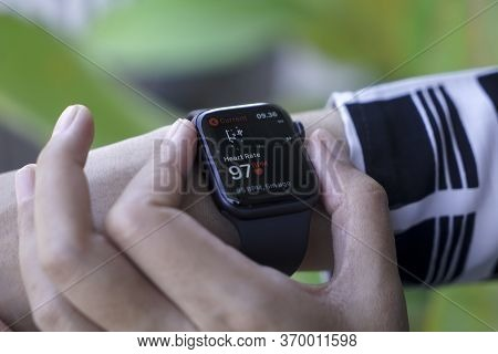 Bali Indonesia June 2, 2020 : Female Hands Using With Apple, Apple Watch Is A Line Of Smartwatches D