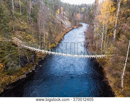 Autumn View Of Oulanka National Park Landscape, During Hiking, A Finnish National Park In The Northe