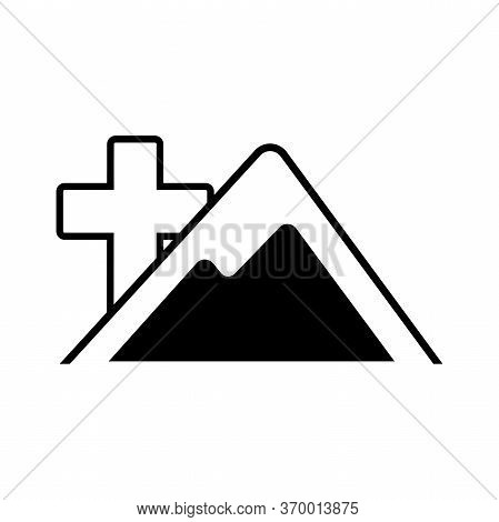 Vector Icon Christian Cross Behind The Mountain. Black Christian Cross Sign Isolated On White Backgr